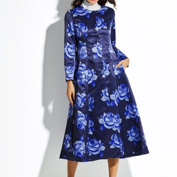 Chicloth Floral Print Single-Breasted Women's Trench Coat