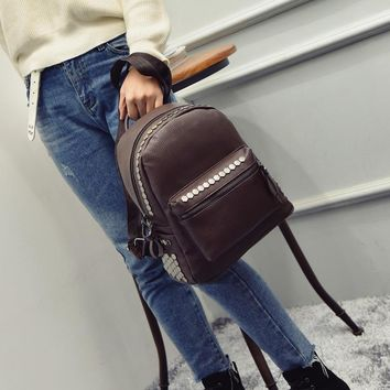 Women Backpack New Fashion Casual PU Leather ladies feminine backpacks Candy color Bag school style Student mini Bagpack