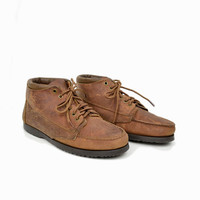 Vintage Minnetonka Moccasin Leather Chukka Boots / Brown Leather Ankle Boots- men's size 9