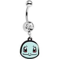 Officially Licensed Pokemon Clear Gem Squirtle Dangle Belly Ring | Body Candy Body Jewelry