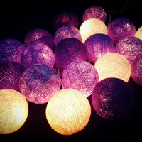 20 xPupleish Tone Cotton Ball string light for home decorations.
