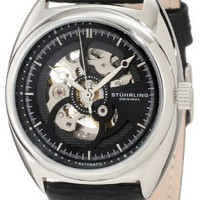 Stuhrling Original Men's 381.33151 Delphi Automatic Skeleton Black Leather Watch