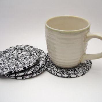 Black and White Coiled Fabric Coasters - Set of 4 - Shabby Chic, Reversible, Mat, Pad, Hot Pad, Mug Rug, Coaster, Candle Mat