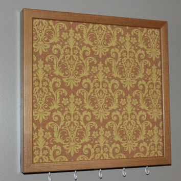 Memo board and key rack with hooks, yellow damask pattern design with natural frame