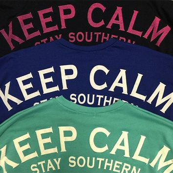 Girls Keep Calm Stay Southern Puffy Print Loose Jersey, Royal