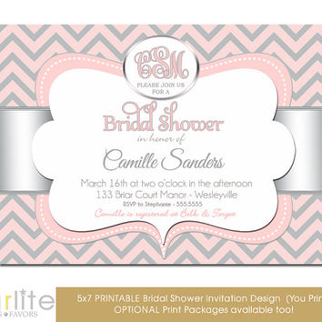 Monogram bridal shower invitation - Chevron Pink Silver - 5x7 Monogram Shower invitation - monogram invitation - Printable Invitation Design