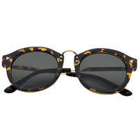 Leopard Pattern Metal Frame Round Sunglasses