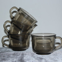 Arcoroc France smoky glass cups (Set of 4), teacups, vintage teacup, glass mugs, coffee mug