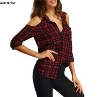 Womdee Long Casual Shirt Women off Shoulder Boho Blouses Shirts Summer Tops Lapel flannel Red Autumn plaid Blouse women 2017