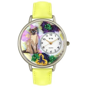 SheilaShrubs.com: Unisex Siamese Cat Yellow Leather Watch U-0120007 by Whimsical Watches: Watches