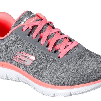 Skechers Gray & Coral Flex Appeal 2.0 Shoes