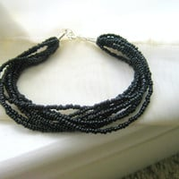 Black Seed Bead Bracelet. Black Bracelet. Beaded Bracelet. Bracelet and Necklace Set. Gifts for her