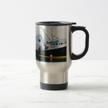 Fishing Boat Leaving Harbor Travel Mug