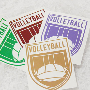 4x4.5 Inch Volleyball Insignia Vintage Badge Athletic Graphic Permanent Vinyl Decal/Bumper Sticker