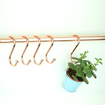 "Quality Copper ""S"" Hooks. Pot Rack Hooks. Copper Hooks. Kitchen Hooks. (Set of 5 )Five."