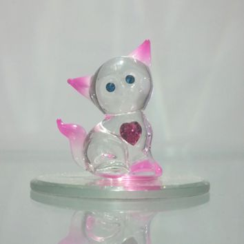 Glass Baron Crystal Kitty Heart Figurine
