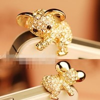 Golden - Korea Cute Koala Crystal Cell Phone Headset Dust Plug for IPhone 4S
