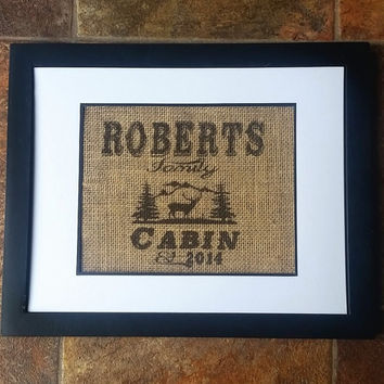 Personalized Cabin Print, cabin sign, cabin decor, cabin print, life is better at the cabin, northern woods, rustic, burlap print
