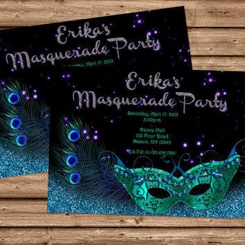 Masquerade Invitation - Mardi Gras - Peacock Masquerade Mask Invitation - Halloween - Sweet 16 Invitations - Sweet Sixteen Birthday Party