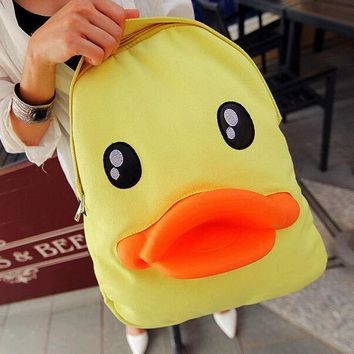 ONETOW Day-First? Cute Yellow Duck Backpack Canvas Bag