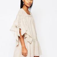 Moon River Oversized Smock Dress with Lace Tie at asos.com