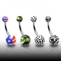 316L Surgical Stainless Steel Navel Rings with Tiger Skin - 14G - 7/16