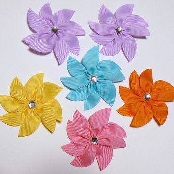 Girls Flower Hair Bow Set Toddler Childrens Kids Boutique Fashion Small Hair Clip Hairbows (Set of 6) Choose Colors