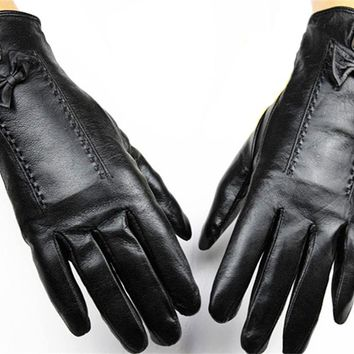 2017 Eldiven Female Points Finger Leather Gloves Lining Sheepskin Autumn And Winter Weatherization Protective Cover Shipping