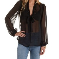 Sheer Tie-Neck Textured Chiffon Top by Charlotte Russe