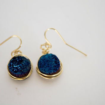 Titanum Blue Quartz Druzy Agate Pendant Earrings