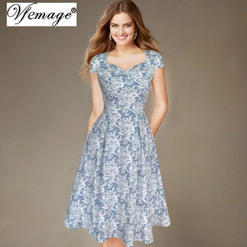 Vfemage Womens Elegant Summer Ruched Leaf Printed Cap Sleeve Casual Wear To Work Office Party Fitted Skater A-Line Dress 2921