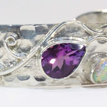 Sterling Silver African Amethyst and Ethiopian Opal Cuff Bracelet