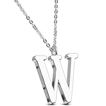 BodyJ4You Necklace Letter W Initial Alphabet Charm W Stainless Steel Chain