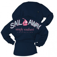 XL Simply Southern Blue Sailboat Drop Shoulder Long Sleeve Tee