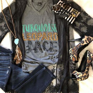 Turquoise Leopard Lace Graphic Tee