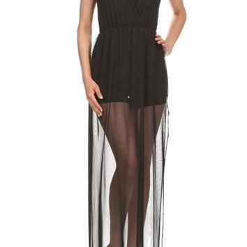 Sexy V Neck Sleeveless Mini Short Side Double Split Open Banded Waist Mesh Maxi Dress
