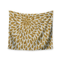 "888 Design ""Abstract Golden Flower"" Gold Tan Wall Tapestry"