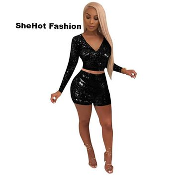Women Sexy Two Piece Sequined Long Sleeve V-Neck Crop Top Short Set