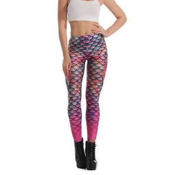 Mermaid Skin Women's Pink Slim High Waisted Elastic Printed Fitness Workout Leggings