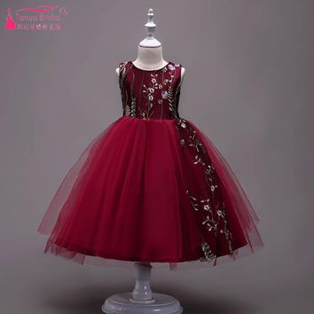 Burgundy Embroidery Flower Girls Dresses Tulle Ball Gowns Colorful Floral Lace Jewel vestido longo Kids Party Gowns ZF020