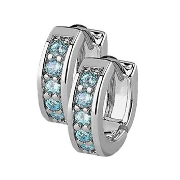 BodyJ4You Small Earrings Hoops Huggie Half Circle Pave CZ Aqua Crystal Stainless Steel 12mm Hoop