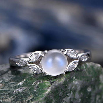 Moonstone engagement-Solid 14k White gold-handmade Marquise CZ ring-flower Stacking ring-6mm round shape gemstone promise ring for her