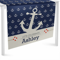 Ahoy! Nautical Table Runner - Custom Baby Shower or Birthday Party Decorations - Personalized Party Supplies
