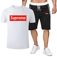 Supreme Tide brand men and women short-sleeved sports suit two-piece white