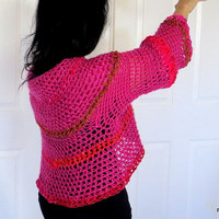 Hot pink circle shrug, color block crochet sweater, convertible sweater jacket, outerwear