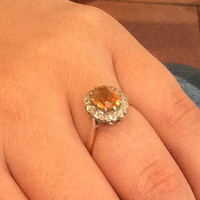 Citrine with Diamond Halo Ring, 18K Gold, Vintage SALE