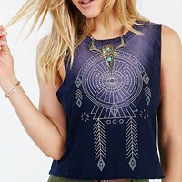 Project Social T Dreamcatcher Cropped Muscle Tee- Blue