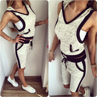 SIMPLE - Women Summer Sleeveless Sports Top And Slim Shorts Outfit a10101
