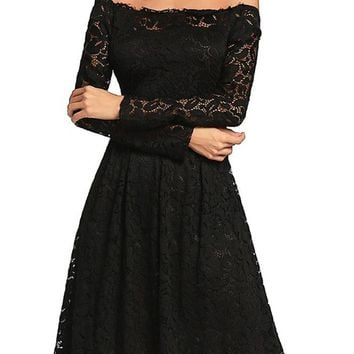 C| Chicloth Vintage Lace Off the Shoulder Long Sleeve A Line Pleated Dress