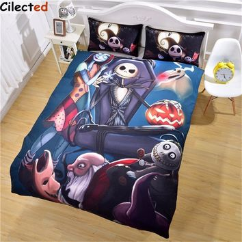 Cilected Hot Design Nightmare Before Christmas Bedding Set Home Bedclothes Unique Skull Duvet Cover Queen King Size
